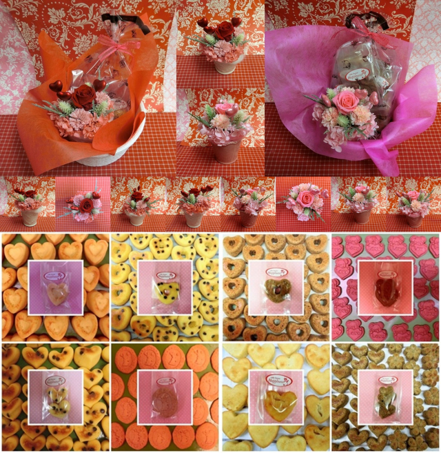 ハートの陶器カップにアレンジした薔薇のプリザーブドフラワーとハートの焼き菓子菓子のギフトセット販売中です♪(*^▽^*)