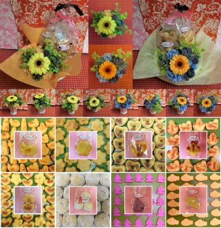 ガーベラのプリザーブドフラワーに四つ葉のクローバーをあしらったアレンジと野菜や果物を使った焼き菓子菓子のギフトセット販売中です♪(*^▽^*)
