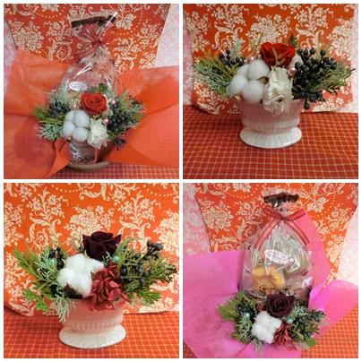 大阪市中央区のお花屋さん♪ブーケティエさんのプリザーブドフラワーアレンジとケーキハウスハピネスの焼き菓子のギフトセット販売中です♪(*^_^*)