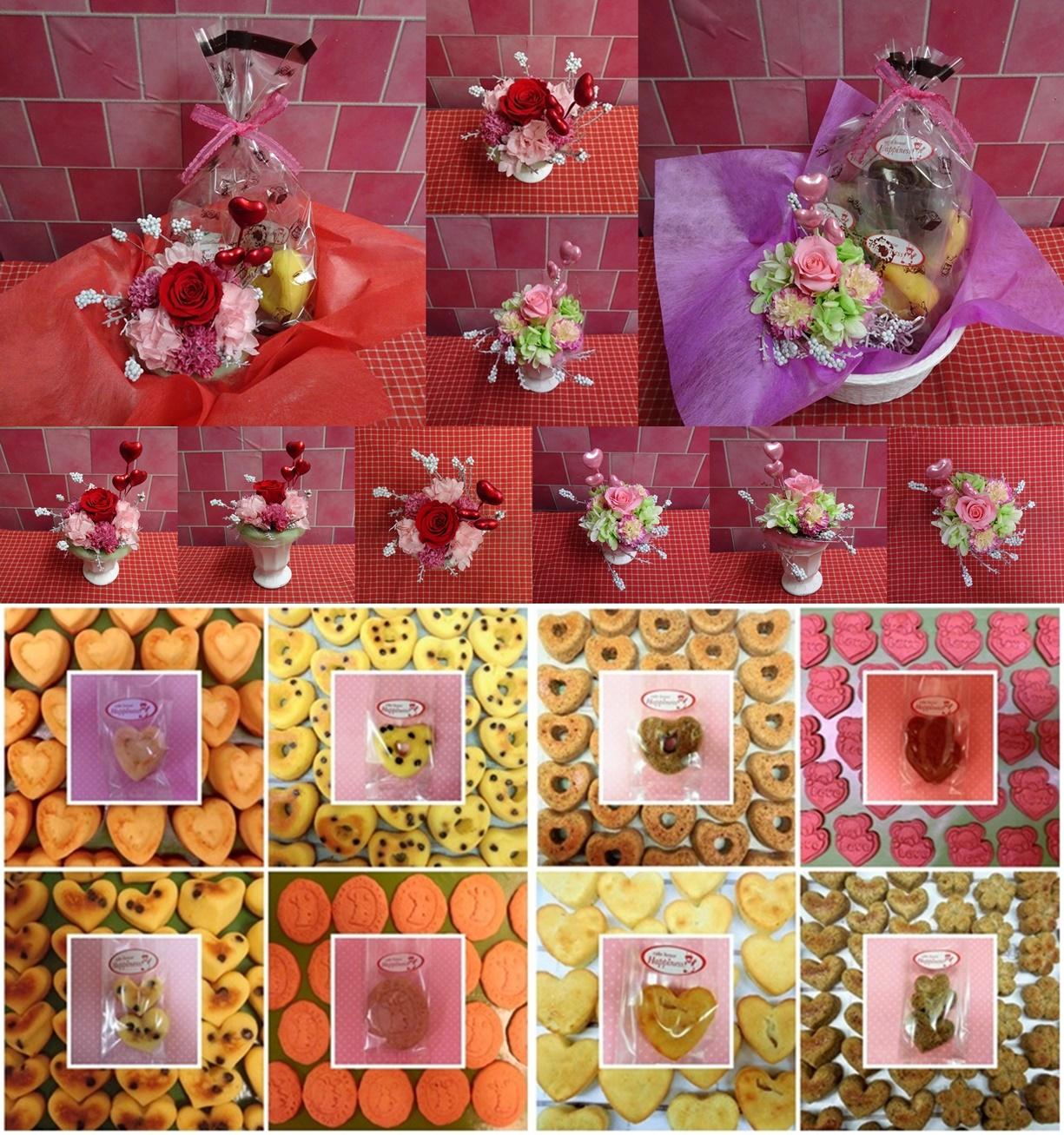 ドライフラワーテイストと薔薇のプリザーブドフラワーアレンジとハートの焼き菓子菓子のギフトセット販売中です♪(*^▽^*)